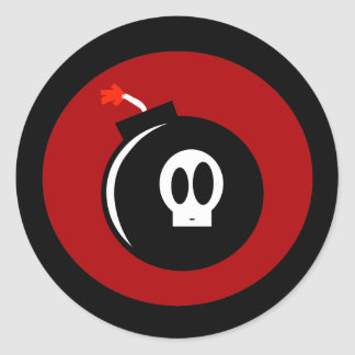 Skull Bomb Classic Round Sticker