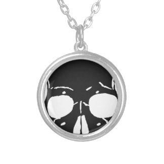 Skull Bone Bones Skeleton Skeletal Creepy Spooky Silver Plated Necklace