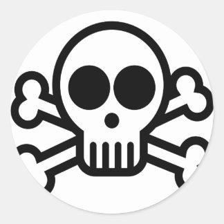 Skull & Bones Bone Head Round Sticker