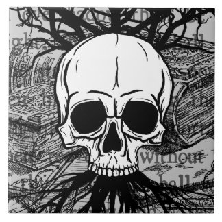 Skull & Books Tile