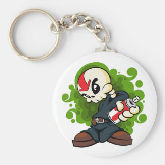 Skull Boy Basic Round Button Key Ring