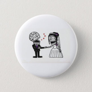 Skull Bridal Couple 6 Cm Round Badge