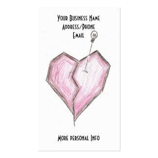 Skull & Broken Heart Business Cards, Tattoo Artist Pack Of Standard Business Cards