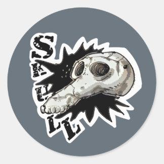 skull cartoon style illustration round sticker