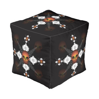 Skull Celtic Cross Pouf