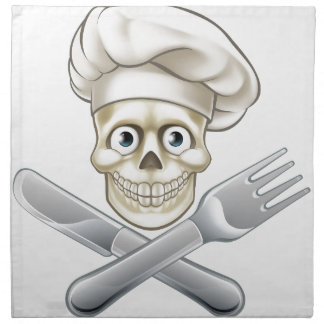 Skull Chef Pirate Cartoon Napkin
