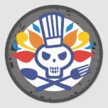 Skull chef utensils crossbones food stickers