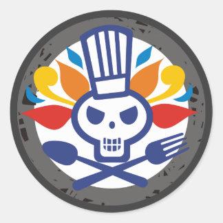 Skull chef utensils crossbones food stickers
