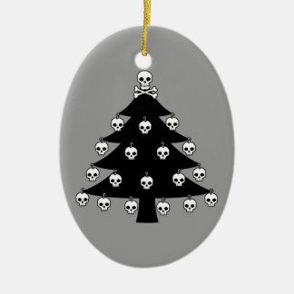 Skull Christmas Tree Ceramic Ornament