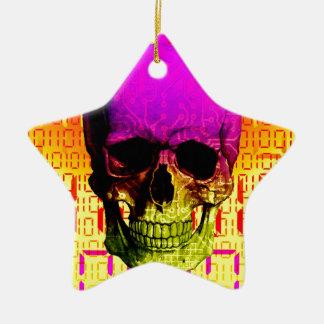 Skull circuit in a digital code. ceramic star decoration