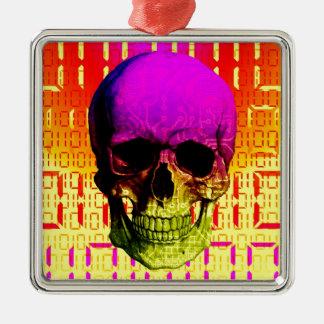Skull circuit in a digital code. Silver-Colored square decoration