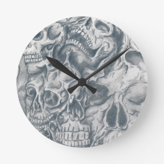 skull college wall clock