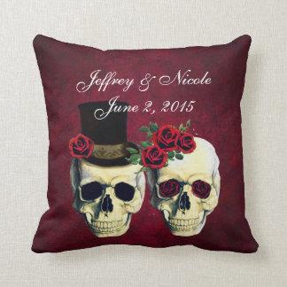 Skull Couple Bride and Groom Custom Wedding Cushion