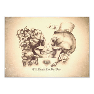 Skull Couple Day of the Dead Engagement Party 13 Cm X 18 Cm Invitation Card