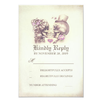 Skull Couple Dead Day Wedding RSVP Cards 9 Cm X 13 Cm Invitation Card