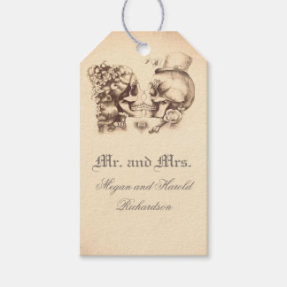 Skull Couple Vintage Old Wedding Gift Tags