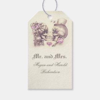 Skull Couple Vintage Purple Wedding Gift Tags