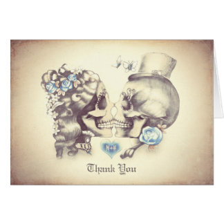 Skull couple wedding thank you cards