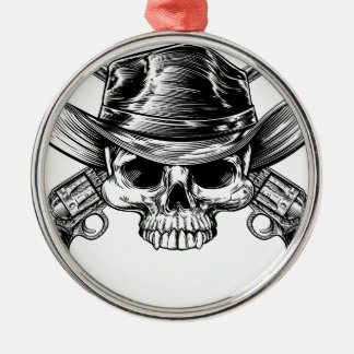 Skull Cowboy and Guns Silver-Colored Round Decoration