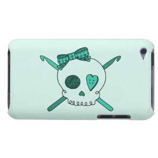 Skull & Crochet Hooks (Turquoise Background) Barely There iPod Cases