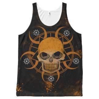 Skull Crop Circle Designed All-Over Print Tank Top