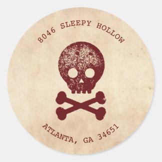 Skull & Cross Bone Halloween Return Address Label Round Sticker