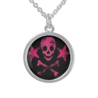 Skull&Cross Bones Sterling Silver Round Necklace