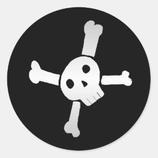 Skull Cross white Round Stickers