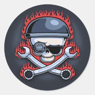 Skull & Cross Wrenches Round Sticker