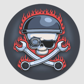 Skull Cross Wrenches Round Stickers