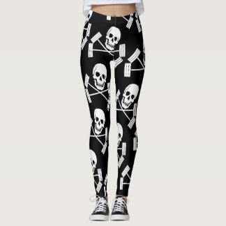 Skull Crossbones and barbells leggings the lifter