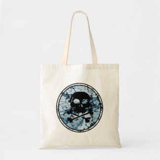Skull & Crossbones Distressed Silhouette Cameo Budget Tote Bag