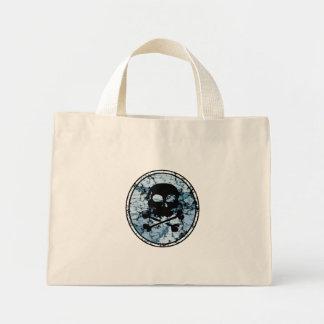 Skull & Crossbones Distressed Silhouette Cameo Mini Tote Bag