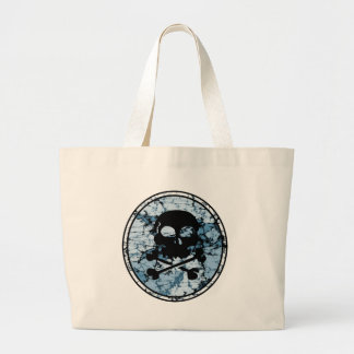 Skull & Crossbones Distressed Silhouette Cameo Canvas Bag