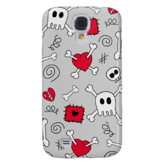Skull Crossbones Hearts Doodle 3G/3GS  Samsung Galaxy S4 Cover