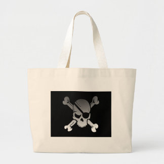 Skull Crossbones Pirate Flag Fade Eye Patch Large Tote Bag