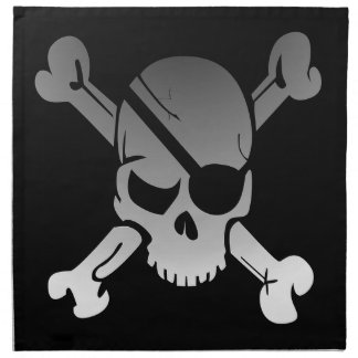 Skull Crossbones Pirate Flag Fade Eye Patch Napkin