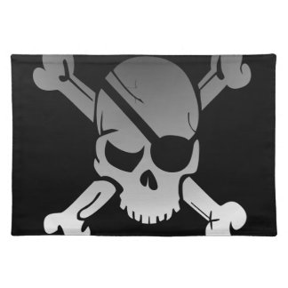 Skull Crossbones Pirate Flag Fade Eye Patch Placemat
