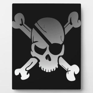 Skull Crossbones Pirate Flag Fade Eye Patch Plaque