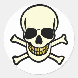Skull Crossbones Round Sticker