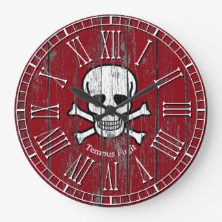 Skull Crossbones Weathered Personalize Large Clock