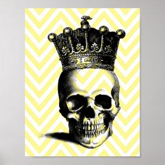 Skull Crown Royal Yellow Chevron Poster