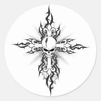 Skull Crucifix Classic Round Sticker