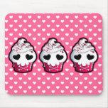 Skull Cupcake Mouse Pad: Wh Polka Dots