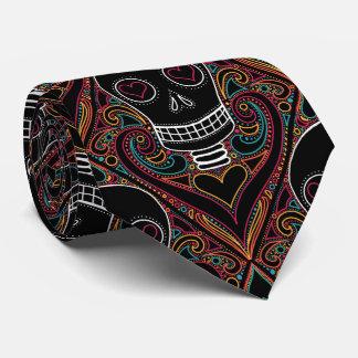 Skull damask necktie, elegant spooky Halloween tie