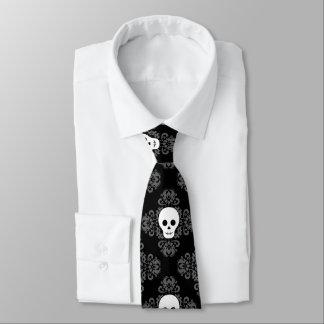 Skull damask pattern tie