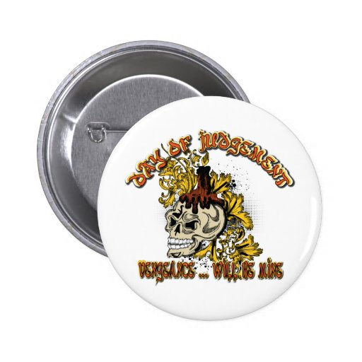 Skull ~ Day of Judgement Skull Fantasy Art Buttons