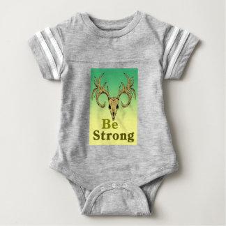 Skull deer Be strong quotes Baby Bodysuit