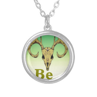 Skull deer Be strong quotes Silver Plated Necklace