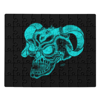 Skull Devil Head Black and Green Design Jigsaw Puzzle